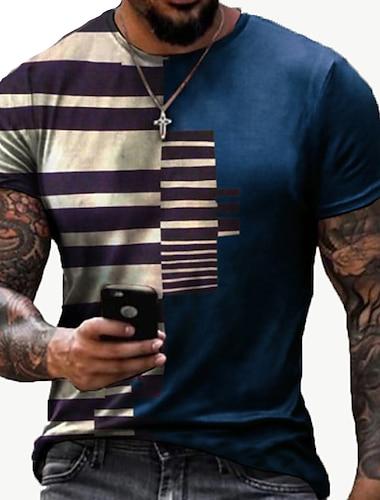 Ανδρικά Κοντομάνικα Μπλουζάκι 3D εκτύπωση Ριγέ Γραφικά Σχέδια Στάμπα Κοντομάνικο Καθημερινά Άριστος Καθημερινό Υψηλής Ποιότητας Μεγάλο και ψηλό Στρογγυλή Λαιμόκοψη Θαλασσί Μαύρο Ρουμπίνι / Καλοκαίρι