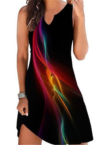 Γυναικεία Φόρεμα σε γραμμή Α Μίνι φόρεμα Βυσσινί Λευκό Μαύρο Ρουμπίνι Αμάνικο Φλοράλ Πεταλούδα Στάμπα Άνοιξη Καλοκαίρι Λαιμόκοψη V Καθημερινό Αργίες 2021 Τ M L XL XXL 3XL 4XL 5XL