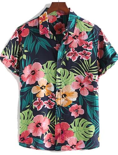 Pánské Košile Květinový Lístky Tlačítko dolů Krátký rukáv ulice Topy Bavlna Na běžné nošení Havajské Pohodlné Černá