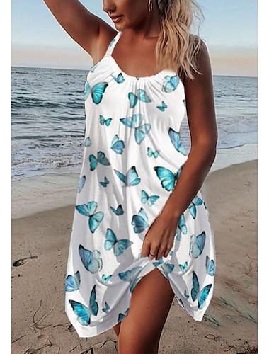 vestido con tirantes para mujer mini vestido corto morado verde blanco sin mangas mariposa estampado animal verano u cuello casual vacaciones playa salir suelto 2021 s m l xl xxl