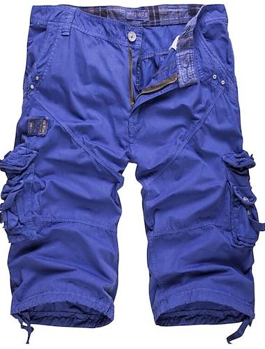 Homme Cargaison Decontracte / Sport Chino Pantalon cargo Coton du quotidien Des sports Pantalon Couleur unie Court Armee verte Bleu Kaki Blanche Noir / Ete