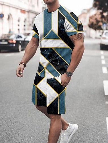 Herre T-Shirt Jakkesæt Skjorte Grafisk Farveblok Plusstørrelser Kortærmet Afslappet Toppe Basale Designer Slim Pasform Stor og høj A B C