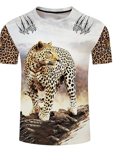 Pánské Unisex Trička Tričko Košile 3D tisk Grafické tisky Zvíře Větší velikosti 3D tisk Krátký rukáv Ležérní Topy Základní Designové Velký a vysoký Bílá Vodní modrá Rubínově červená