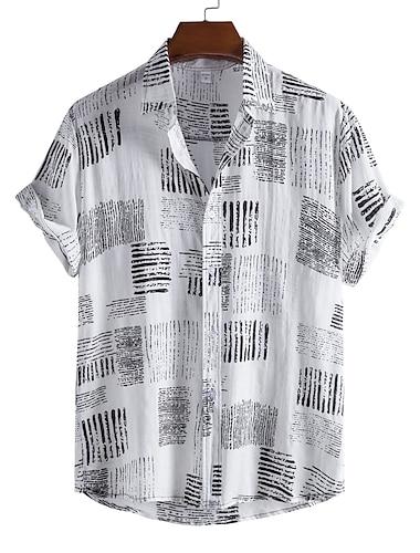 Men\'s Shirt Striped Button-Down Short Sleeve Casual Tops Casual Fashion Hawaiian Breathable White Black / Beach