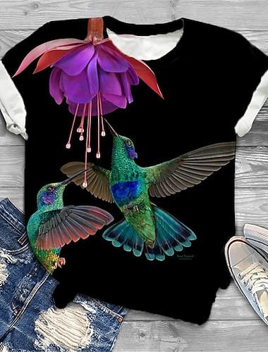 여성용 플러스 크기 탑스 T 셔츠 그래픽 새 동물 프린트 짧은 소매 크루 넥 베이직 여름 푸른 블랙 베이지 큰 사이즈 XL XXL 3XL 4XL 5XL / 플러스 사이즈 / 홀리데이 / 플러스 사이즈