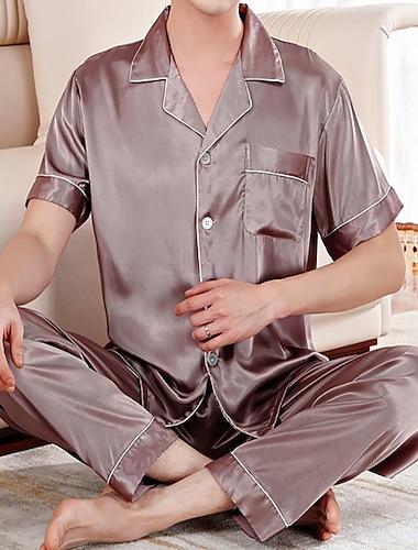 בגדי ריקוד גברים נורמלי הלבשת כסאות פיג\'מות בית אבזם פוליאסטר יום יומי קז\'ואל מכנס אביב קיץ צוארון עם כפתור שרוולים קצרים / 2 חלקים