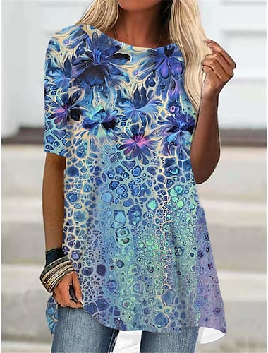 Dámské Tričkové šaty Krátké mini šaty Vodní modrá Trávová zelená Poloviční rukáv Květinový Tisk Tisk Podzim Léto Kulatý Na běžné nošení Dovolená 2021 S M L XL XXL 3XL