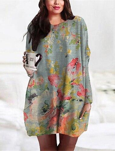 Γυναικεία Συν μέγεθος Φόρεμα Φόρεμα ριχτό Μίνι φόρεμα Μακρυμάνικο Φλοράλ Γραφική Τσέπη Στάμπα Βασικό Φθινόπωρο Άνοιξη Καλοκαίρι Γκρίζο XL XXL 3XL 4XL 5XL / Μεγάλα Μεγέθη / Αργίες / Μεγάλα Μεγέθη