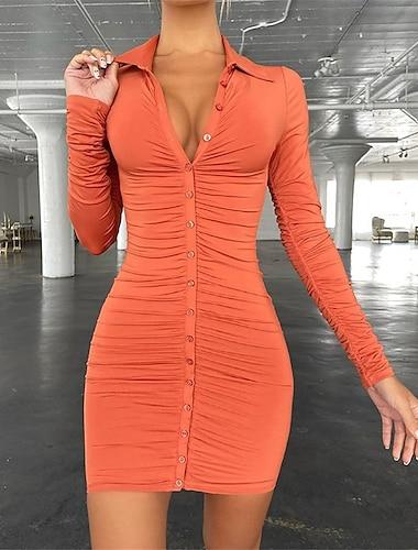 Γυναικεία Φόρεμα σε ευθεία γραμμή Μίνι φόρεμα Βυσσινί Χακί Πορτοκαλί Μαύρο Καφέ Μακρυμάνικο Συμπαγές Χρώμα Σουρωτά Κουμπί Φθινόπωρο Κολάρο Πουκαμίσου Καθημερινό Σέξι Κλαμπ Κανονικό 2021 Τ M L