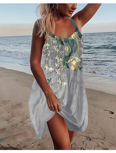 Γυναικεία Φόρεμα με λεπτή τιράντα Μίνι φόρεμα Θαλασσί Βυσσινί Κίτρινο Πράσινο του τριφυλλιού Ανοιχτό Γκρι Σκούρο γκρι Αμάνικο Φλοράλ Στάμπα Στάμπα Άνοιξη Καλοκαίρι Στρογγυλή Λαιμόκοψη Καθημερινό