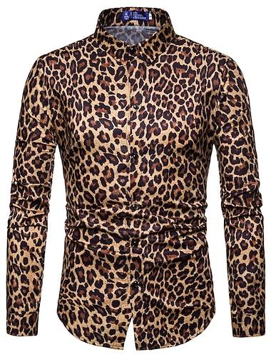 """Муж. Рубашка Другие принты Леопард Принт """"Чита"""" С принтом Длинный рукав Для улицы Верхушки На каждый день Мода Уличный стиль Круто Серый Коричневый"""