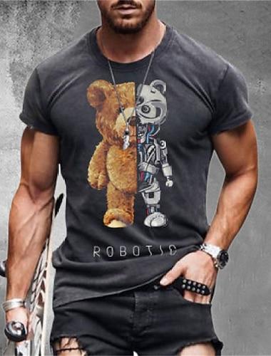 Per uomo Unisex Magliette maglietta Camicia Stampa 3D Cartoni animati 3D Taglie forti Zero two 3D Manica corta Casuale Top Essenziale Originale Grande e alto Rotonda Grigio / Estate