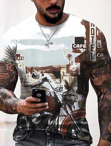 Herren Tee T-Shirt Hemd 3D-Druck 3D Grafik-Drucke Buchstabe 66 Road Druck Kurzarm Alltag Oberteile Freizeit Designer Groß und hoch Rundhalsausschnitt Hellgelb Golden Mehrfarbig / Sommer