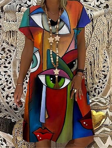 Női Pólóruha Térdig érő ruha Rubin Rövid ujjú Nyomtatott Színes Absztrakt Nyomtatott Tavasz Nyár V-alakú Alkalmi Szabadság 2021 S M L XL XXL 3XL