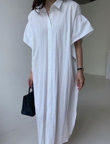 Γυναικεία Φόρεμα πουκαμίσα Μακρύ φόρεμα Χακί Λευκό Κοντομάνικο Συμπαγές Χρώμα Άνοιξη Καλοκαίρι Καθημερινό Φαρδιά 2021 Ένα Μέγεθος