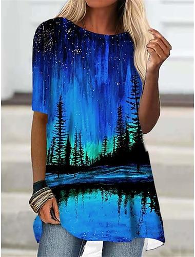 Γυναικεία Κοντομάνικο φόρεμα Μίνι φόρεμα Θαλασσί Βυσσινί Μισό μανίκι Στάμπα Στάμπα Φθινόπωρο Καλοκαίρι Στρογγυλή Λαιμόκοψη Καθημερινό Αργίες 2021 Τ M L XL XXL 3XL