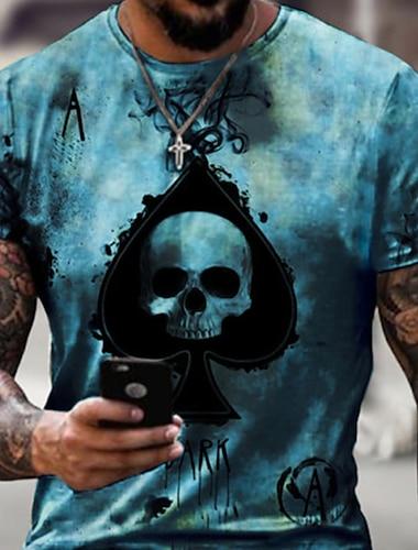 Pánské Trička Tričko Košile 3D tisk Grafika Lebky Větší velikosti Krátký rukáv Ležérní Topy Základní Designové Úzký střih Velký a vysoký Bílá Vodní modrá Černá