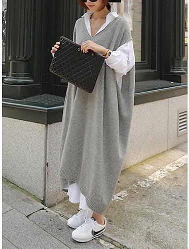 Γυναικεία Φόρεμα πουκαμίσα Μακρύ φόρεμα Γκρίζο Μακρυμάνικο Συμπαγές Χρώμα Φθινόπωρο Χειμώνας Καθημερινά Φαρδιά 2021 Ένα Μέγεθος