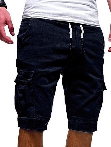 pánské nákladní šortky elastické pas ležérní šortky pro muže poloviční kalhoty bavlněné stahovací šňůrky v pase kalhoty ke kolenům s kapsami velké vysoké-zelené-m