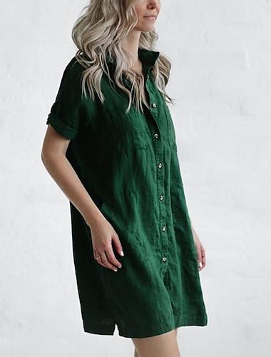 Γυναικεία Φόρεμα πουκαμίσα Φόρεμα μέχρι το γόνατο Πράσινο του τριφυλλιού Λευκό Μαύρο Κοντομάνικο Συμπαγές Χρώμα Άνοιξη Καλοκαίρι Καθημερινά 2021 Τ M L XL XXL XXXL 3XL / Βαμβάκι / Βαμβάκι