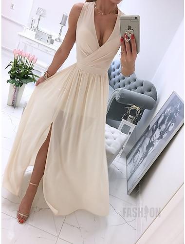Γυναικεία Φόρεμα ριχτό από τη μέση και κάτω Μακρύ φόρεμα Δέρμα ροζ Λευκό Πράσινο Ανοικτό Βιολετί Σομόν Αμάνικο Συμπαγές Χρώμα Σκίσιμο Άνοιξη Καλοκαίρι Λαιμόκοψη V καυτό Κομψό Καθημερινό Πάρτι 2021