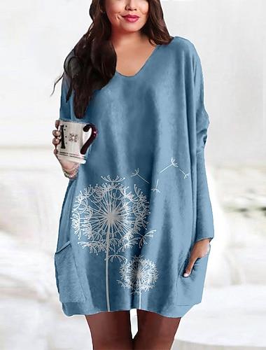 Γυναικεία Συν μέγεθος Φόρεμα Κοντομάνικο φόρεμα Μίνι φόρεμα Μακρυμάνικο Στάμπα Τσέπη Στάμπα Καθημερινό Άνοιξη & Χειμώνας / Μεγάλα Μεγέθη / Φαρδιά
