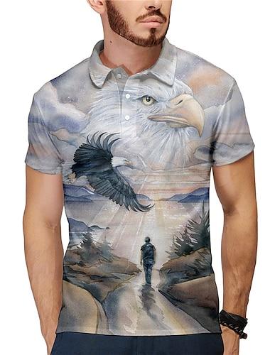 Homens Camisa de golfe Camisa de tenis Impressao 3D Aguia Animal Botao para baixo Manga Curta Rua Blusas Casual Moda Legal Cinzento / Esportes