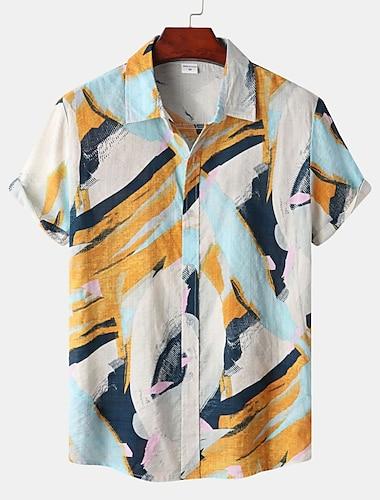 Men\'s Shirt Color Block Button-Down Short Sleeve Street Tops Cotton Casual Hawaiian Comfortable Beach Yellow