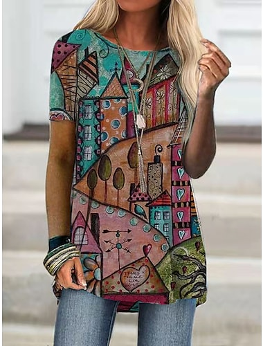 Női Póló Grafika Látvány Nyomtatott Kerek Felsők Alap Boho Alapvető felső Rubin Sárga