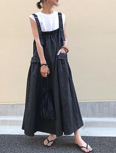 Γυναικεία Φαρδιά Μακρύ φόρεμα Βαθυγάλαζο Αμάνικο Συμπαγές Χρώμα Καλοκαίρι Καθημερινό Φαρδιά 2021 Ένα Μέγεθος