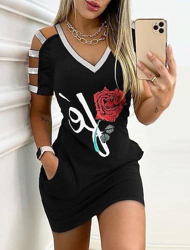 Γυναικεία Φόρεμα σε ευθεία γραμμή Μίνι φόρεμα Μαύρο Κοντομάνικο Φλοράλ Στάμπα Καλοκαίρι Λαιμόκοψη V Κομψό Σέξι Κλαμπ Λεπτό 2021 Τ M L XL XXL 3XL