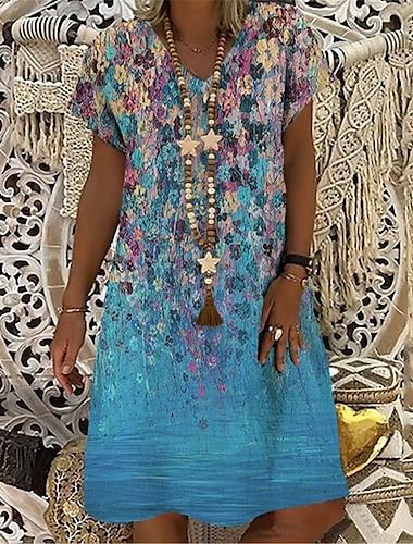 Női Pólóruha Térdig érő ruha Medence Lóhere Világoskék Rövid ujjú Virágos Nyomtatott Nyomtatott Tavasz Nyár V-alakú Alkalmi Szabadság 2021 S M L XL XXL 3XL