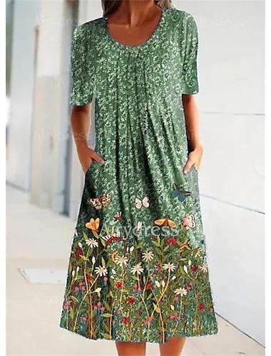 Γυναικεία Φόρεμα ριχτό Μίντι φόρεμα Θαλασσί Κρασί Πράσινο του τριφυλλιού Κοντομάνικο Φλοράλ Πεταλούδα Σουρωτά Στάμπα Φθινόπωρο Άνοιξη Στρογγυλή Λαιμόκοψη Καθημερινό Αργίες Φαρδιά 2021 Τ M L XL XXL