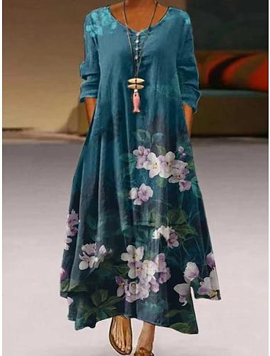 Női A vonalú ruha Maxi hosszú ruha Medence Lóhere Fehér Háromnegyedes Virágos Aszimmetrikus szegély Gomb Nyomtatott Ősz Tavasz V-alakú Alkalmi Szüret Szabadság 2021 S M L XL XXL XXXL 4 XL 5 XL