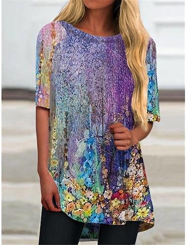 Γυναικεία Κοντομάνικο φόρεμα Μίνι φόρεμα Βυσσινί Μισό μανίκι Φλοράλ Διαβάθμιση χρώματος Στάμπα Φθινόπωρο Καλοκαίρι Στρογγυλή Λαιμόκοψη Καθημερινό Αργίες 2021 Τ M L XL XXL 3XL