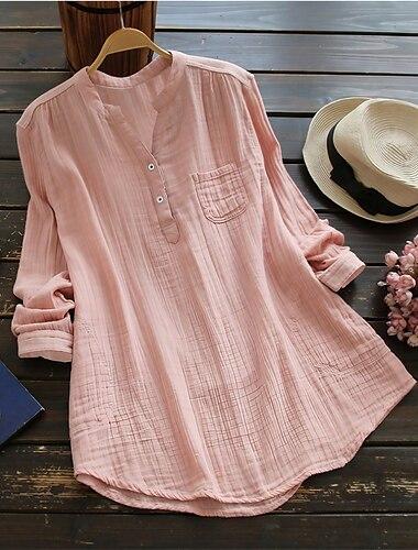 Γυναικεία Αργίες Μπλούζα Πουκάμισο Σκέτο Μακρυμάνικο Τσέπη Κουμπί Λαιμόκοψη V Βασικό Κομψό στυλ street Άριστος Ανθισμένο Ροζ Λευκό Βαθυγάλαζο