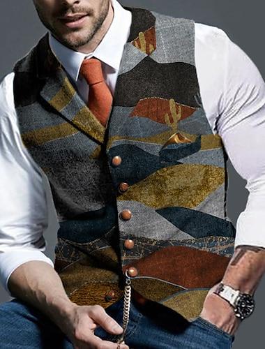 男性用 スーツベスト チョッキ パーティー 祭り カジュアル ヴィンテージ ブリティッシュ カラーブロック シングルブレスト 一つボタン スリム ポリエステル 男性用 スーツ グレー - シャツカラー