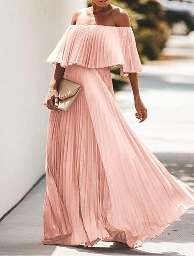 Γυναικεία Φόρεμα ριχτό από τη μέση και κάτω Μακρύ φόρεμα Θαλασσί Κίτρινο Ανθισμένο Ροζ Μαύρο Ροδοκόκκινο Μισό μανίκι Συμπαγές Χρώμα Σουρωτά Πλισέ Άνοιξη Καλοκαίρι Ώμοι Έξω Κομψό Μοντέρνα Πάρτι 2021