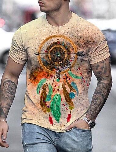 Homens Unisexo Camisetas Camiseta Camisa Social Impressao 3D Estampas Abstratas Pena Estampado Manga Curta Diario Blusas Casual Designer Grande e Alto Amarelo