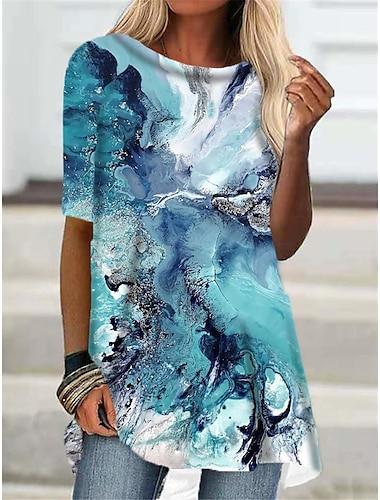 Dámské Tričkové šaty Krátké mini šaty Vodní modrá Trávová zelená Poloviční rukáv Zářící barvy Tisk Podzim Léto Kulatý Na běžné nošení Dovolená 2021 S M L XL XXL 3XL