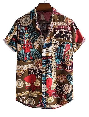 Men\'s Shirt Other Prints Letter Animal Print Short Sleeve Daily Tops Beach Boho Black