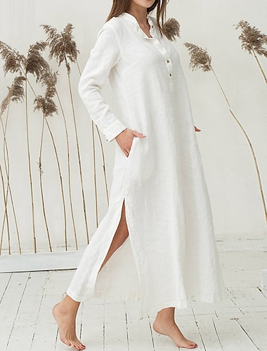 Γυναικεία Φόρεμα πουκαμίσα Μακρύ φόρεμα Ουρανί Λευκό Σκούρο μπλε Μακρυμάνικο Συμπαγές Χρώμα Σκίσιμο Κουμπί Άνοιξη Καλοκαίρι Όρθιος Γιακάς Κομψό Βίντατζ Αργίες Φανέλα Ρετρό Τ M L XL XXL XXXL / Βαμβάκι
