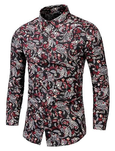 Herr Skjorta Andra tryck Grafisk Plusstorlekar Långärmad Tillfällig Blast Ledigt Mjukt Andningsfunktion Rubinrött
