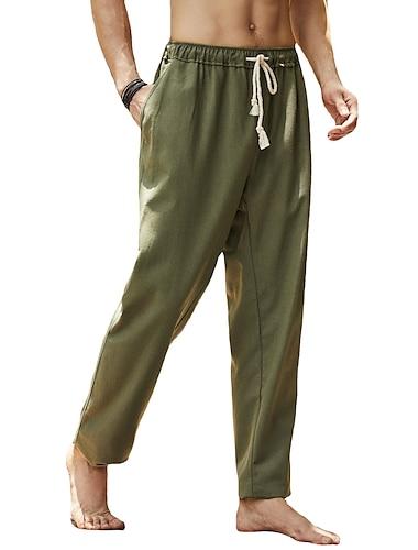 férfi alkalmi nadrág hosszú nadrág rugalmas húzózsinórú derékpánt 20.4% lenvászon klasszikus stílusú retro egyenes nadrág zsebbel lélegző nyári ősz sportos szilárd seregzöld khaki fehér fekete sötét