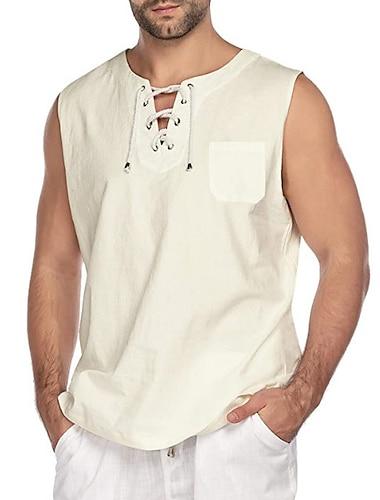 Per uomo Camicia Tinta unica Senza maniche Strada Top Semplice Verde militare Cachi Bianco