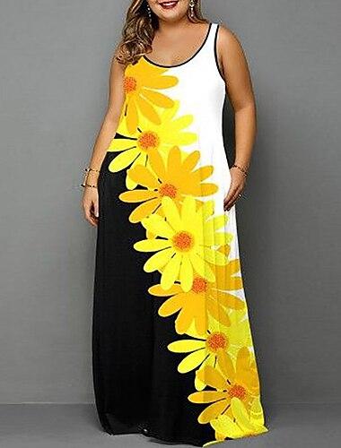 Női Molett Ruha Pántos ruha Maxi hosszú ruha Ujjatlan Virágos Grafika Nyomtatott Elegáns Nyár Világossárga L XL XXL 3 XL 4 XL / Extra méret / Extra méret