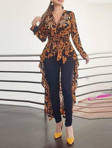 Women\'s Swing Dress Maxi long Dress Black Long Sleeve Print Fall Spring V Neck Elegant Sexy Slim 2021 S M L XL XXL
