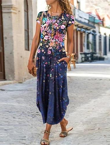 Női Váltó ruha Maxi hosszú ruha Medence Bíbor Arcpír rózsaszín Rövid ujjú Színes Batikolt Virág Zseb Nyomtatott Tavasz Nyár Kerek Alkalmi Szabadság 2021 S M L XL XXL