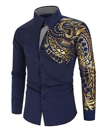 Муж. Рубашка Графика Длинный рукав Повседневные Верхушки Мода Винный Зеленый Белый