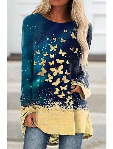 Dámské Áčkové šaty Krátké mini šaty Vodní modrá Dlouhý rukáv Vícebarevný Motýl Tisk Jaro Léto Kulatý Základní Na běžné nošení 2021 S M L XL XXL XXXL 4XL 5XL